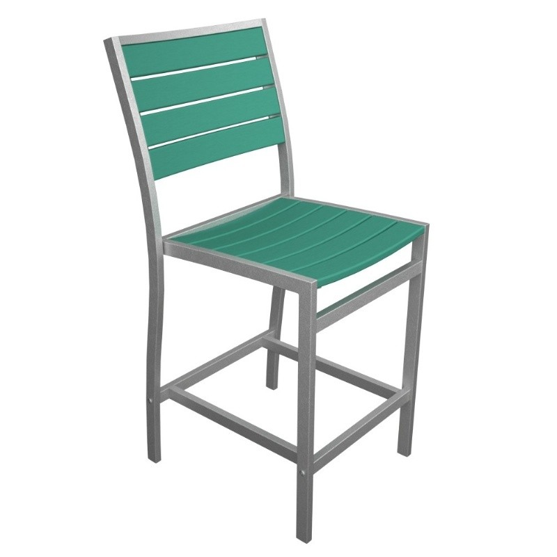 Euro Aluminum Outdoor Counter Chair with Silver Frame alternative photo #5