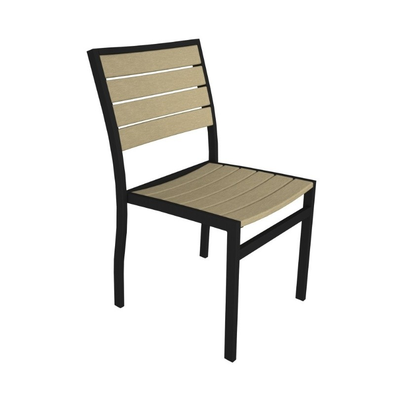 Euro Aluminum Outdoor Side Chair with Black Frame : Dining Chairs
