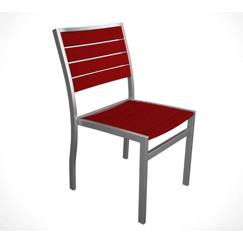 Euro Aluminum Outdoor Side Chair with Silver Frame : Dining Chairs