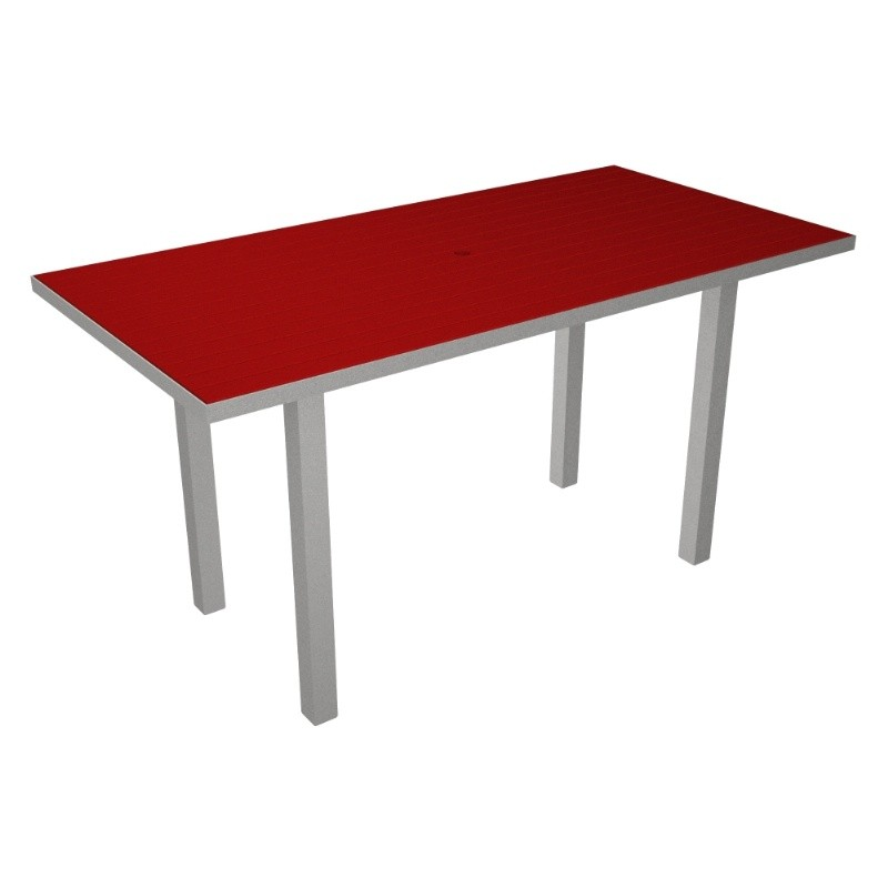 Euro Aluminum Rectangle Outdoor Counter Table with Silver Frame 36x72
