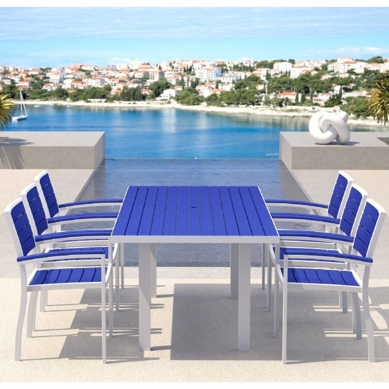 Euro Aluminum Rectangle Outdoor Dining Set with White Frame 7 Piece : Pool Furniture Sets
