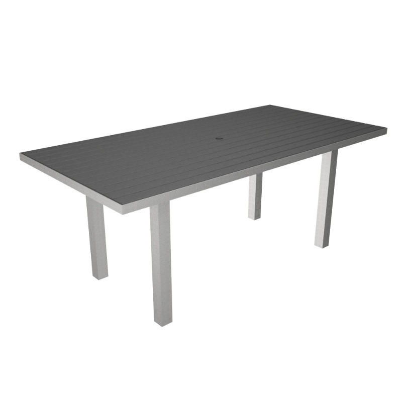 Euro Aluminum Rectangle Outdoor Dining Table with Silver Frame 36x72