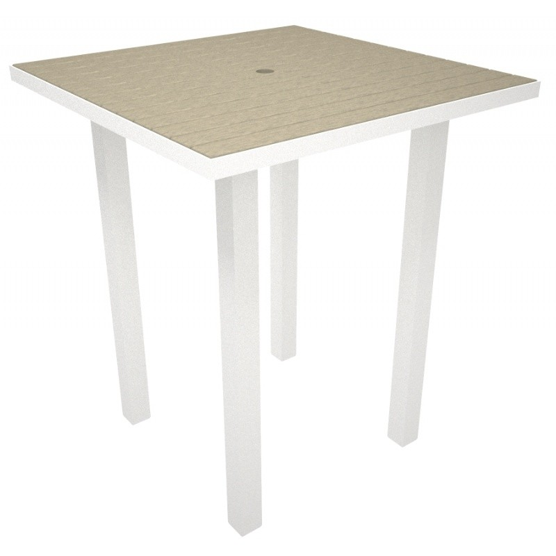 Euro Aluminum Square Outdoor Bar Table with White Frame 36 inch