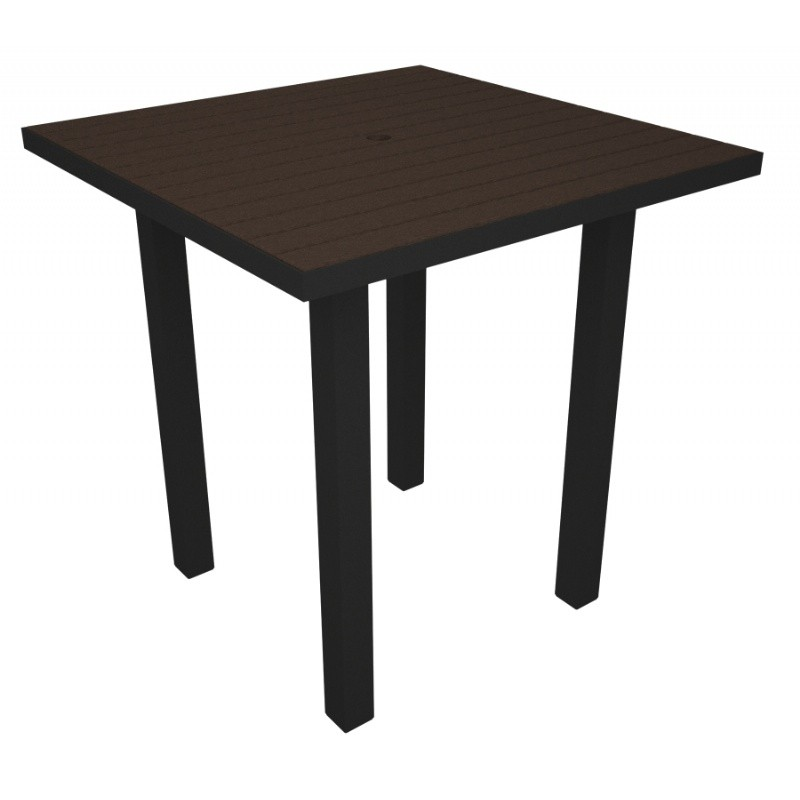 Euro Aluminum Square Outdoor Counter Table with Black Frame 36 inch