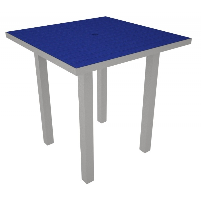 Euro Aluminum Square Outdoor Counter Table with Silver Frame 36 inch