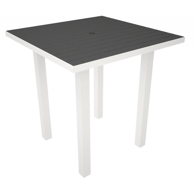 Euro Aluminum Square Outdoor Counter Table With White Frame 36 Inch