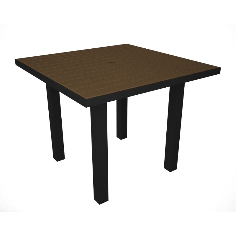 Euro Aluminum Square Outdoor Dining Table with Black Frame 36 inch alternative photo #5