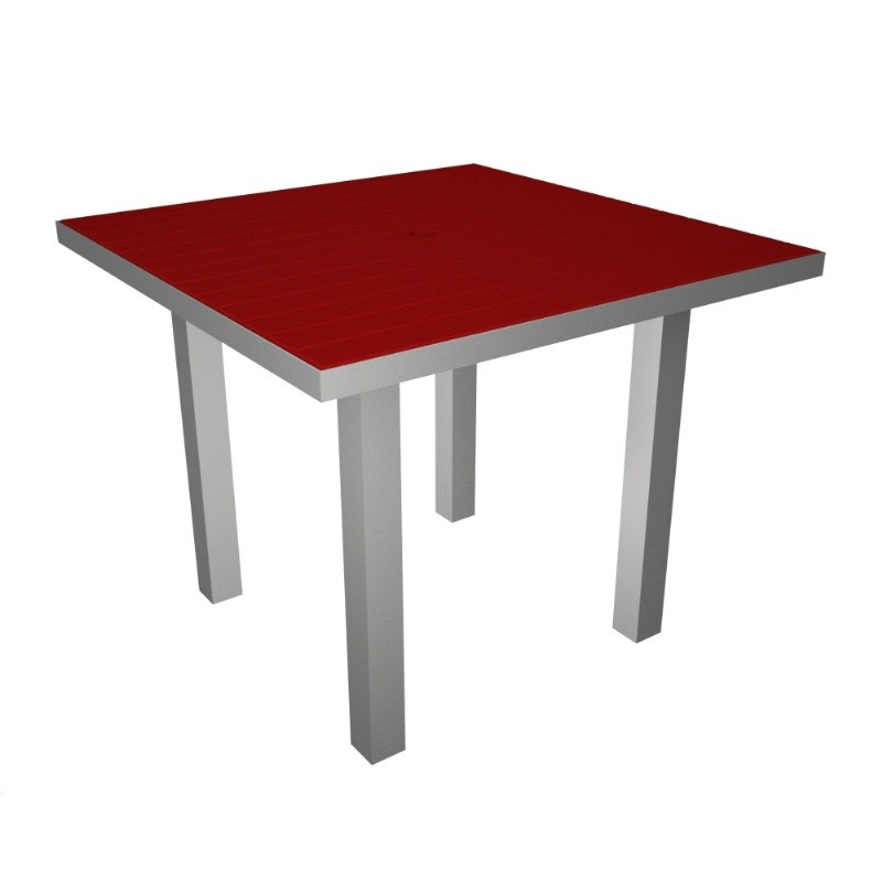 Euro Aluminum Square Outdoor Dining Table with Silver Frame 36 inch