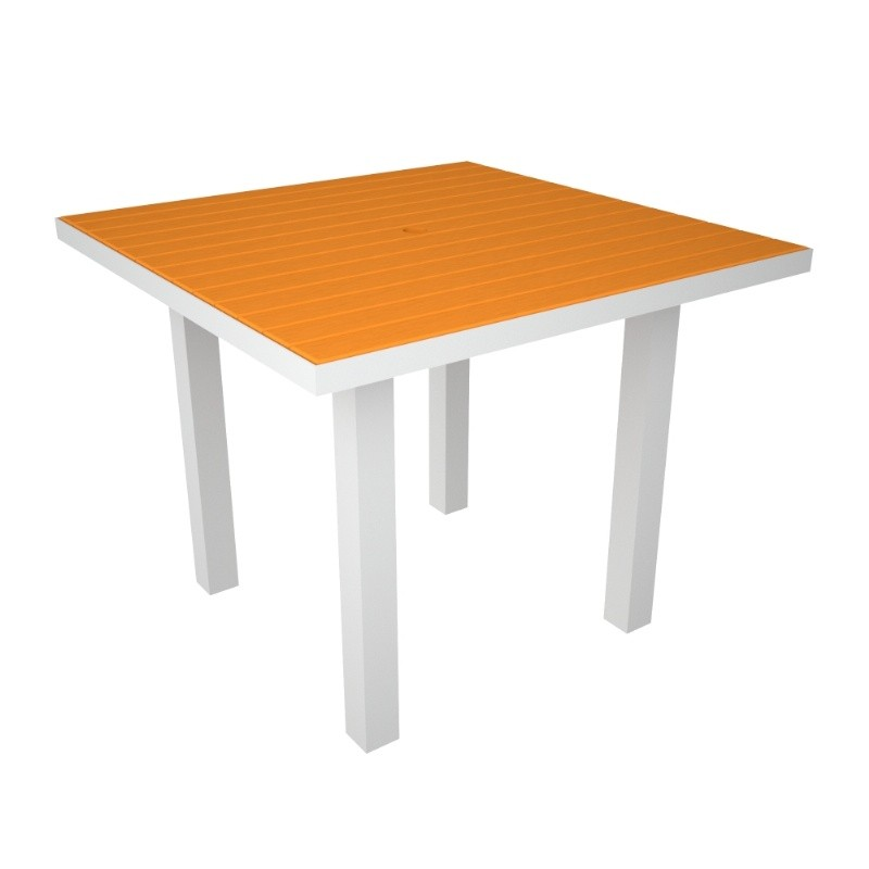 Euro Aluminum Square Outdoor Dining Table with White Frame 36 inch