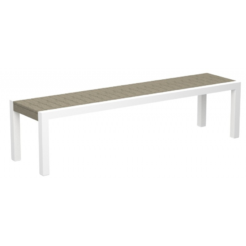 POLYWOOD® Mod Aluminum Outdoor Bench 68 inch with Traditional Slats