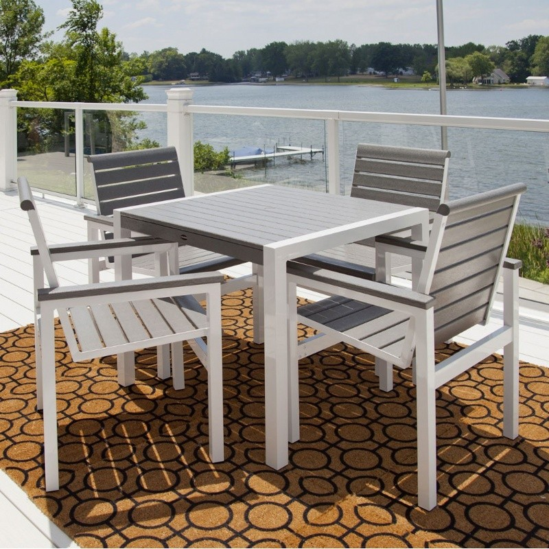 Mod Aluminum Square Dining Set 5 Piece with Traditional Polywood Slats : Pool Furniture Sets