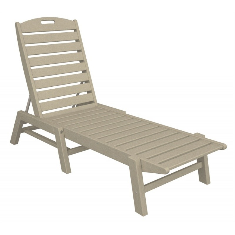 Plastic Wood Nautical Chaise Lounge Stackable