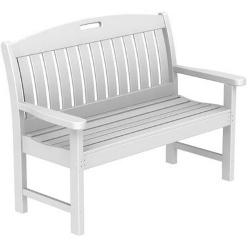 Plastic Wood Nautical Garden Bench w/arms 48 inches : White Patio Furniture
