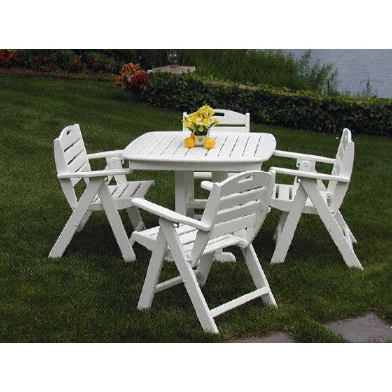 Plastic Wood Nautical Outdoor Dining Set 5 piece : White Patio Furniture