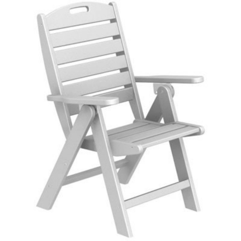 Outdoor Folding Dish Chair: Polywood Nautical Highback Folding Chair