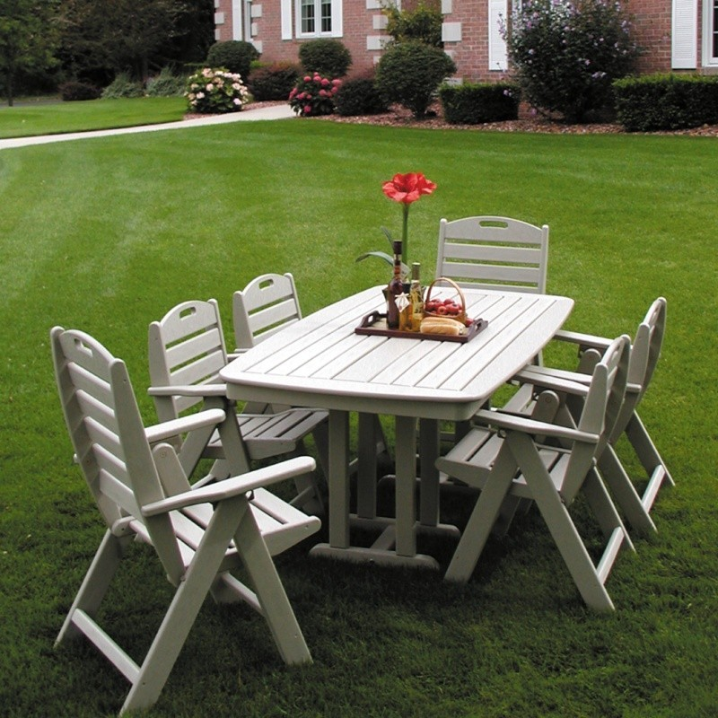 Plastic Wood Nautical Outdoor Dining Set 7 piece