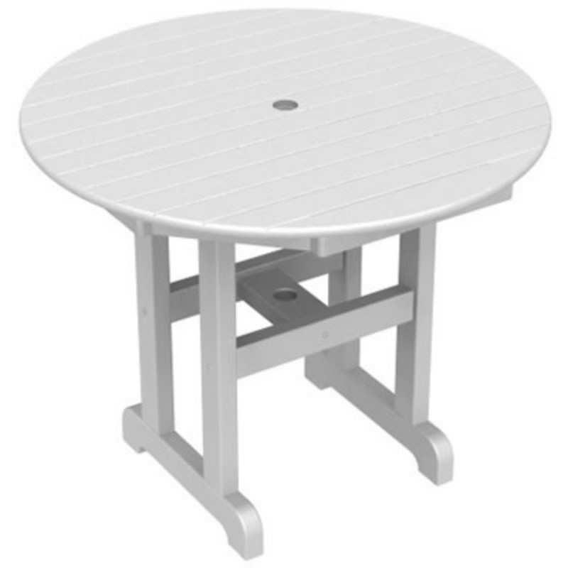 Plastic Wood Round Outdoor Dining Table 36 inch : White Patio Furniture