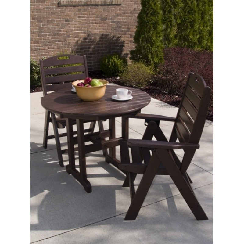 Plastic Wood Nautical Outdoor Highback Bistro Set 3 piece : White Patio Furniture