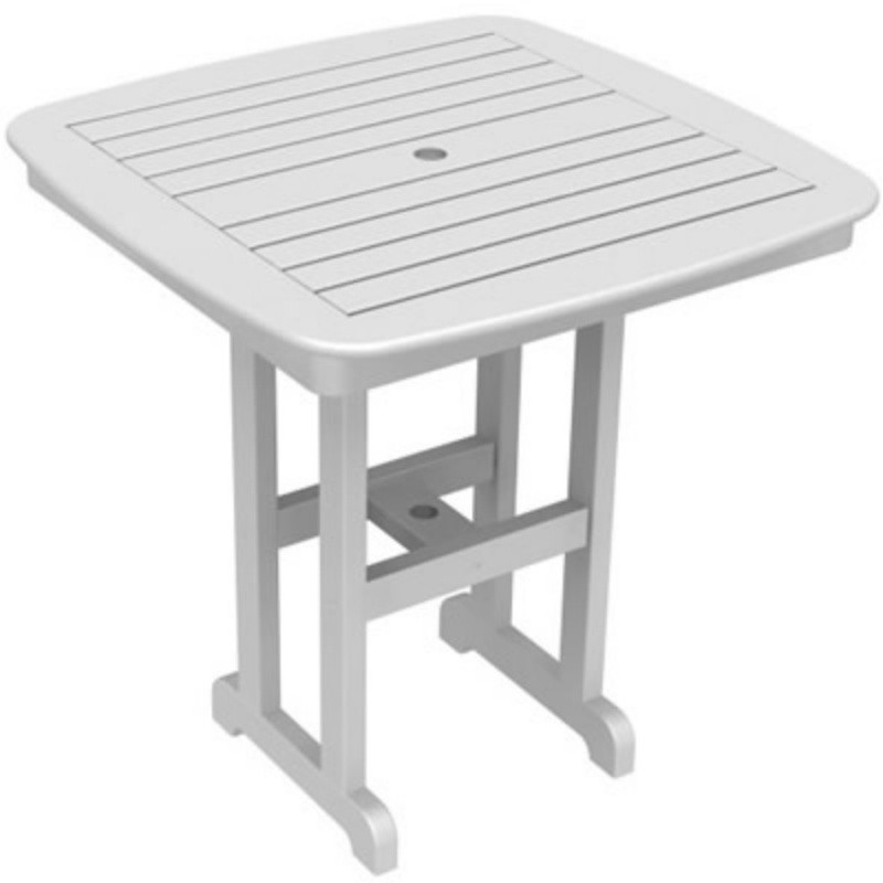 Outdoor Furniture: Square Dining Tables: Plastic Wood Nautical Square Counter Height Table 37 inch