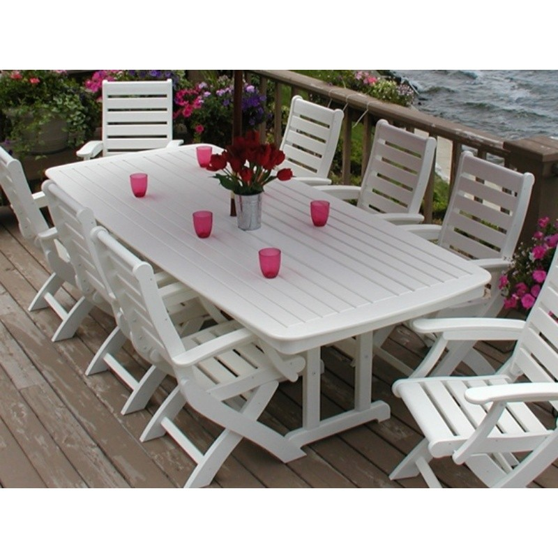 Plastic Wood Nautical Outdoor Highback Dining Set 9 piece : White Patio Furniture