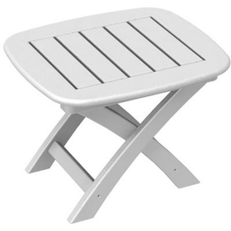 Plastic Wood Nautical Side Table Folding : White Patio Furniture