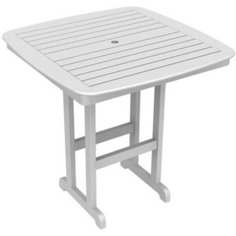 Outdoor Furniture: Square Dining Tables: Plastic Wood Nautical Square Bar Table 44 inch