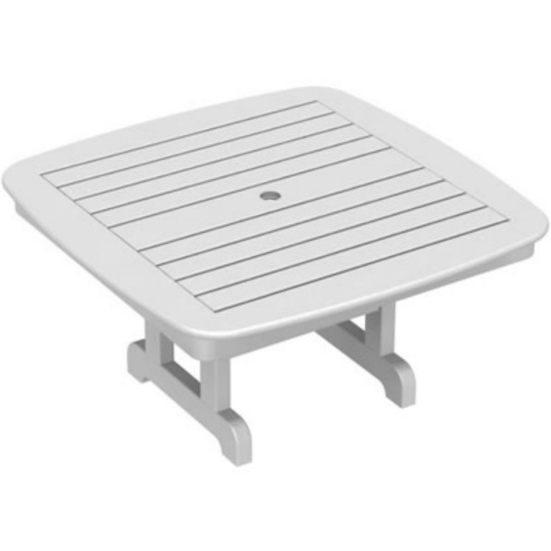 Plastic Wood Nautical Square Conversation Table 37 inch : White Patio Furniture