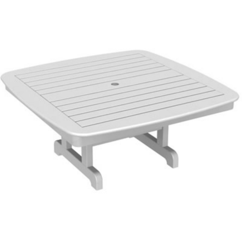 Plastic Wood Nautical Square Conversation Table 44 inch : White Patio Furniture