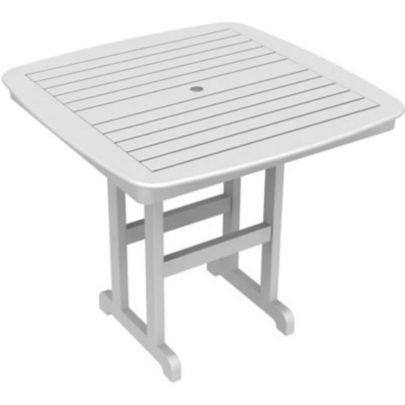 Plastic Wood Nautical Square Counter Height Table 44 inch : White Patio Furniture