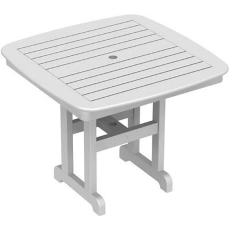 Plastic Wood Nautical Square Dining Table 37 inch : White Patio Furniture