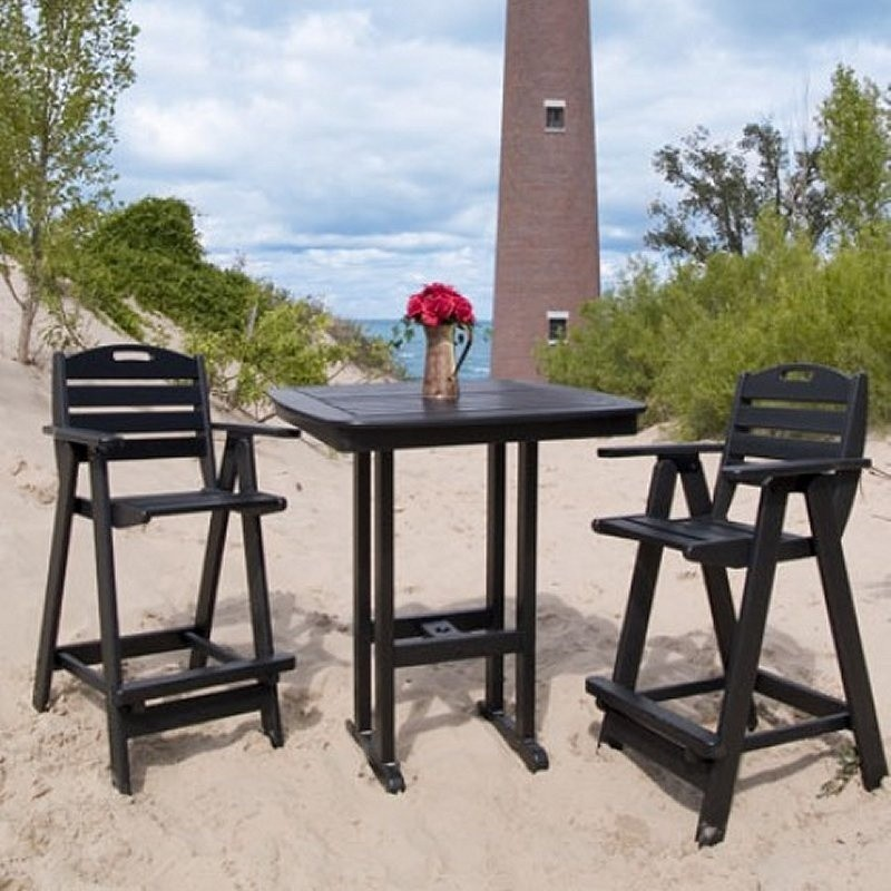Outdoor Furniture: Bistro Sets: Plastic Wood Nautical Three Piece Bar Set