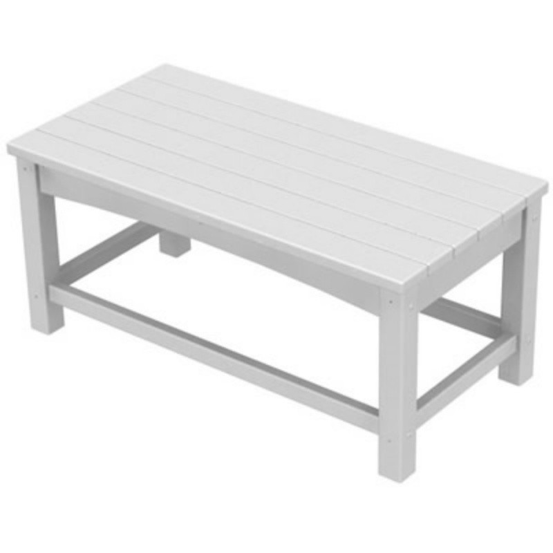 Plastic Wood Outdoor Club Rectangle Coffee Table : White Patio Furniture