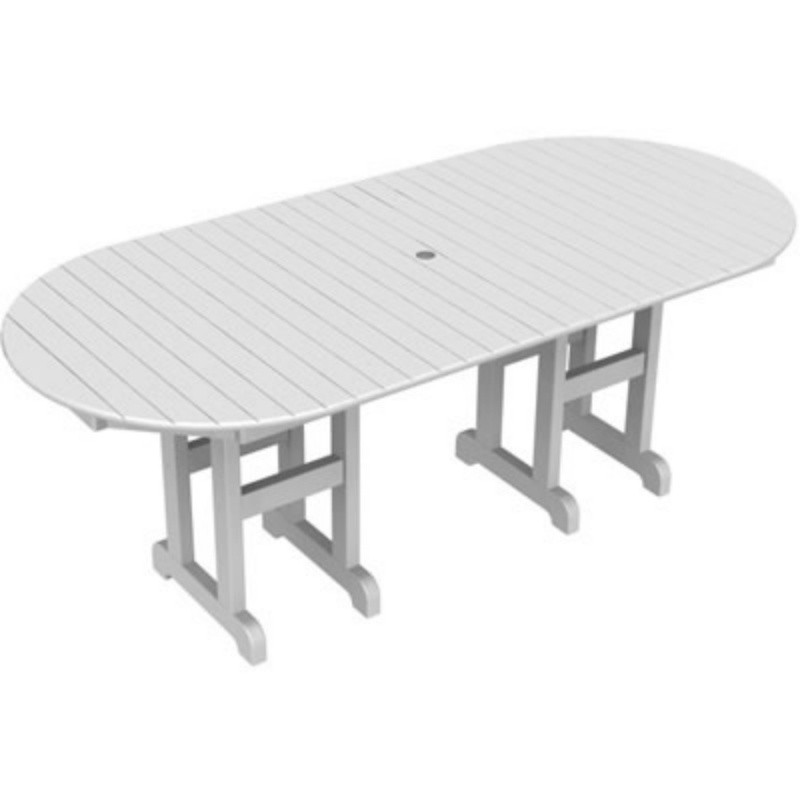 recycled plastic oval outdoor dining table 78 inch pw