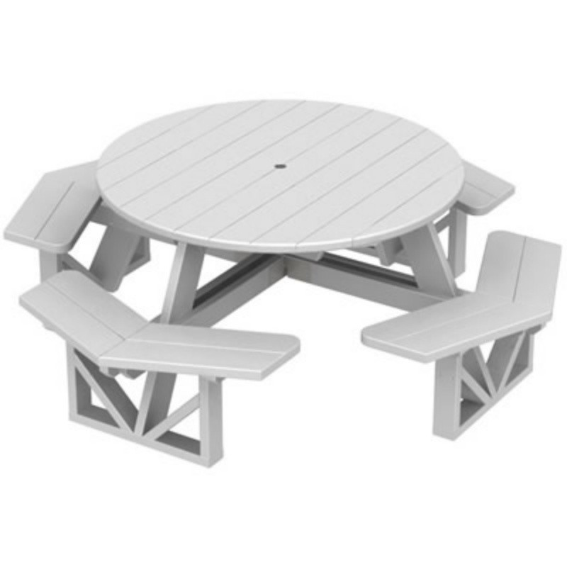 Plastic Wood Park Picnic Table and Bench Set Octagon : White Patio Furniture