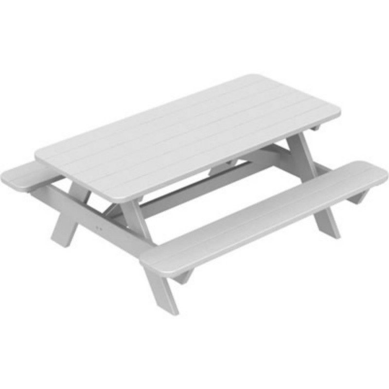 Plastic Wood Park Picnic Table and Bench Set : White Patio Furniture