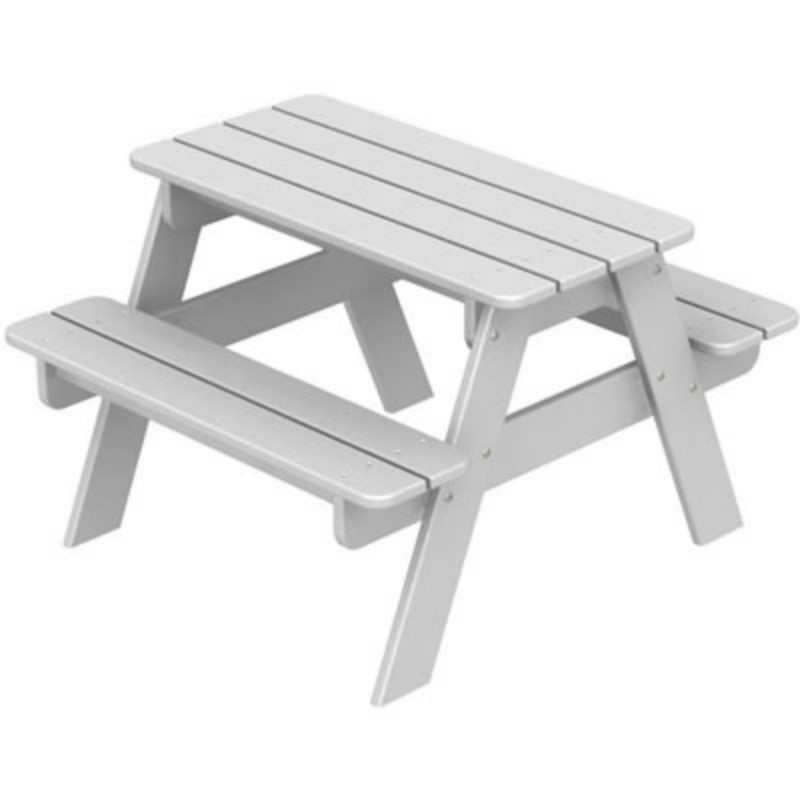 Plastic Wood Park Picnic Table and Bench for Kids Classic : White Patio Furniture