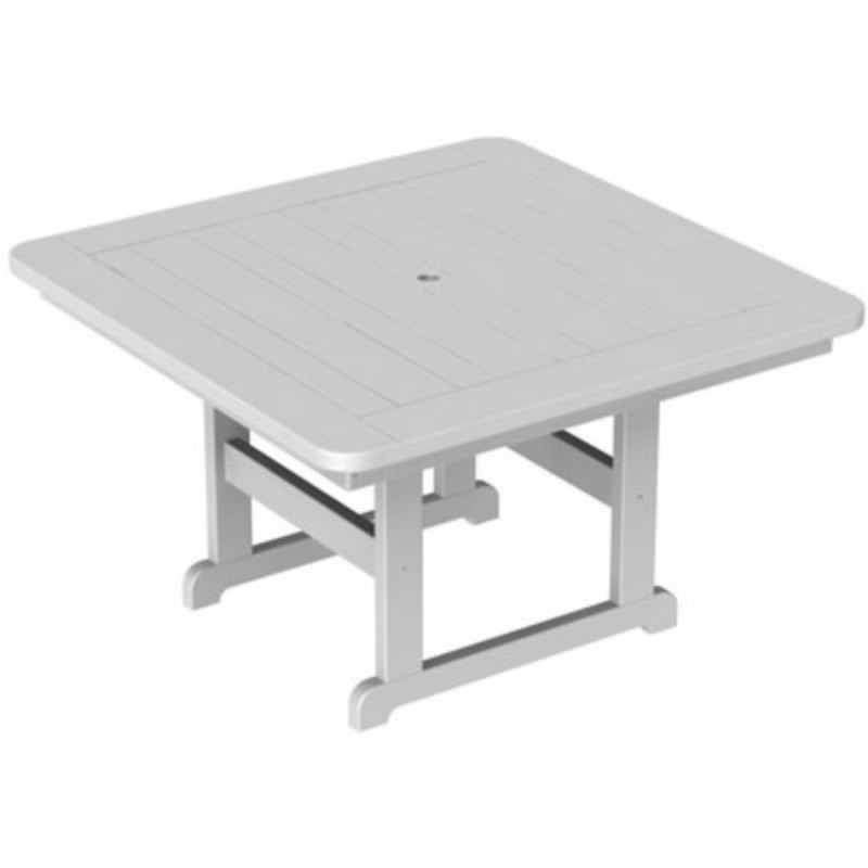 Plastic Wood Park Picnic Table Square 48 : White Patio Furniture
