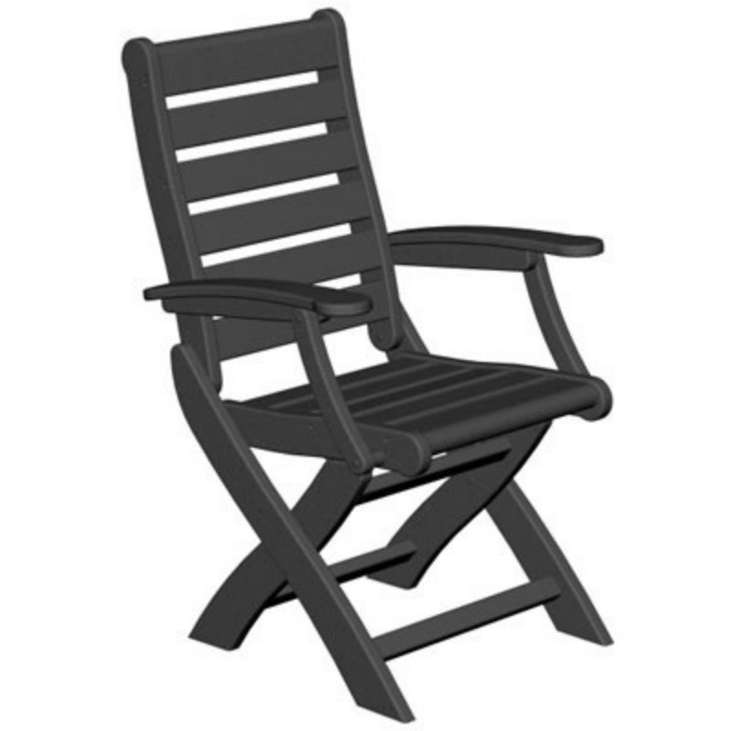 Plastic Captain Signature Folding Outdoor Dining Chair : White Patio Furniture