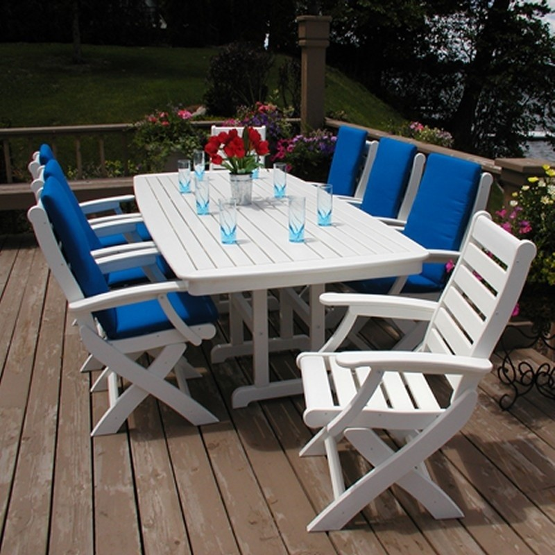 Plastic Captain Signature Outdoor Dining Set 9 piece : White Patio Furniture