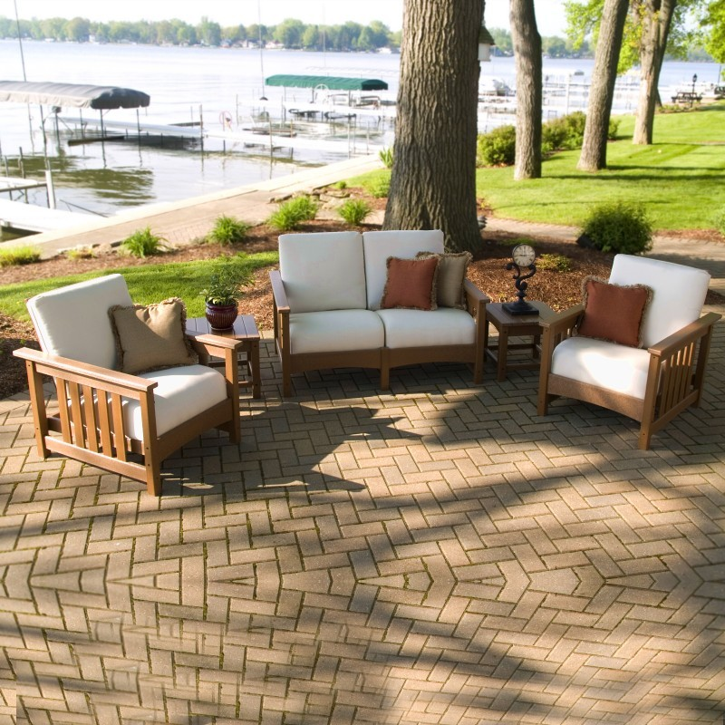 Plastic Patio Furniture Sets on Recycled Plastic Club Deep Seating Patio Set 5 Piece Teak Pw5acmc