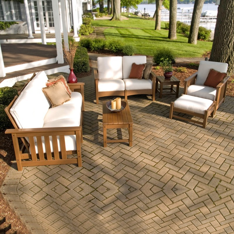Plastic Patio Furniture Sets on Recycled Plastic Club Deep Seating Patio Set 7 Piece Teak Pw7acmc