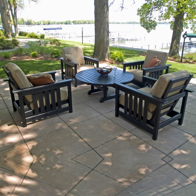 Outdoor Furniture: Outdoor Deep Seating Sets: Plastic Club Mission Patio Chat Set 5 Piece