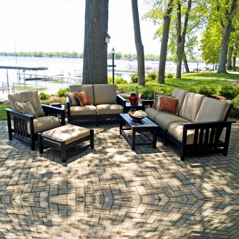 POLYWOOD® Plastic Club Mission Patio Deepseating Set 7 Piece