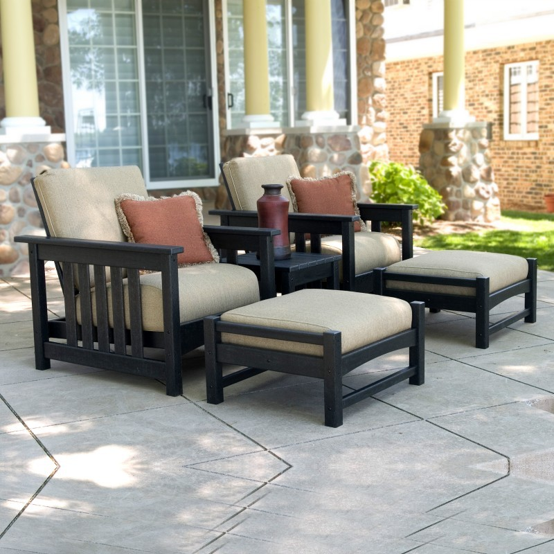 Plastic Furniture Sets: Polywood Plastic Club Mission Lounge Set 5 Piece
