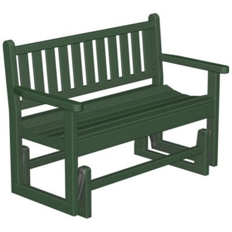 Plastic Traditional Garden Bench Glider w/arms 48 inches : White Patio Furniture