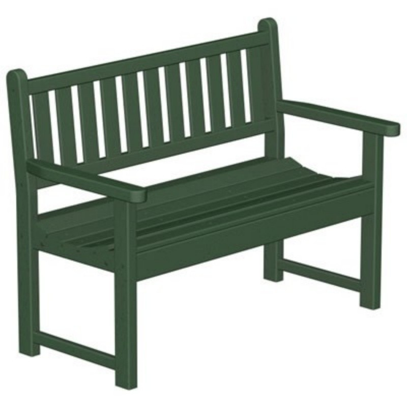 Plastic Traditional Garden Bench w/arms 48 inches : White Patio Furniture