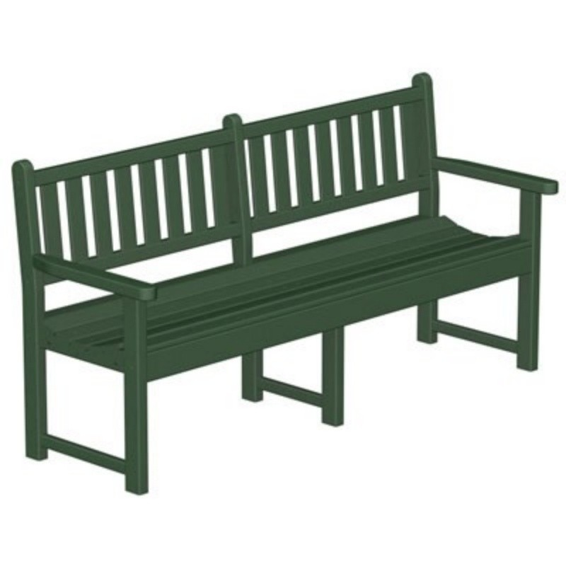 Recycled Plastic Traditional Park Bench W Arms 72 Inches Pwgb72