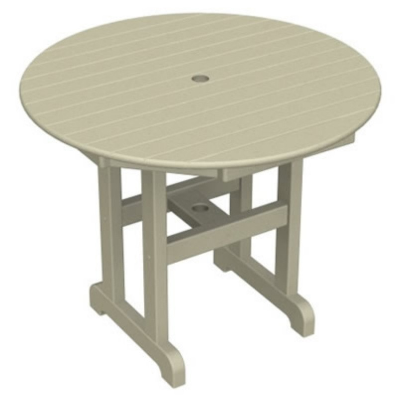 Plastic Wood Round Outdoor Dining Table 36 inch alternative photo #2