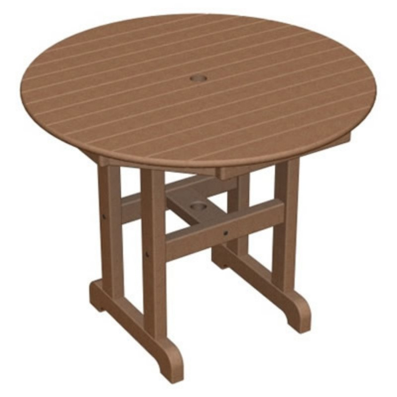 Plastic Wood Round Outdoor Dining Table 36 inch alternative photo #3
