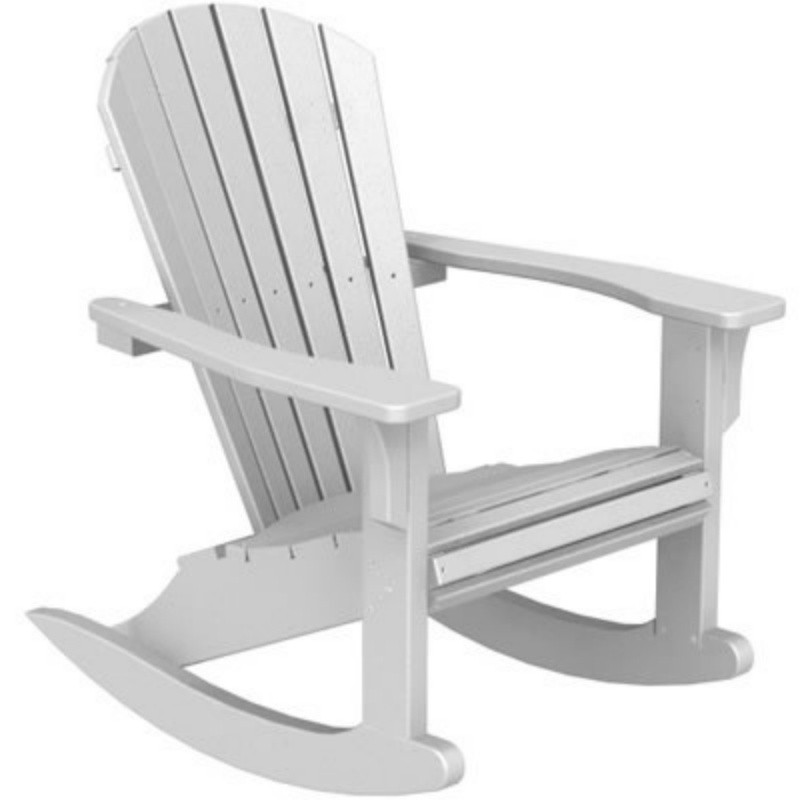 Plastic Wood Seashell Adirondack Rocker Chair : White Patio Furniture